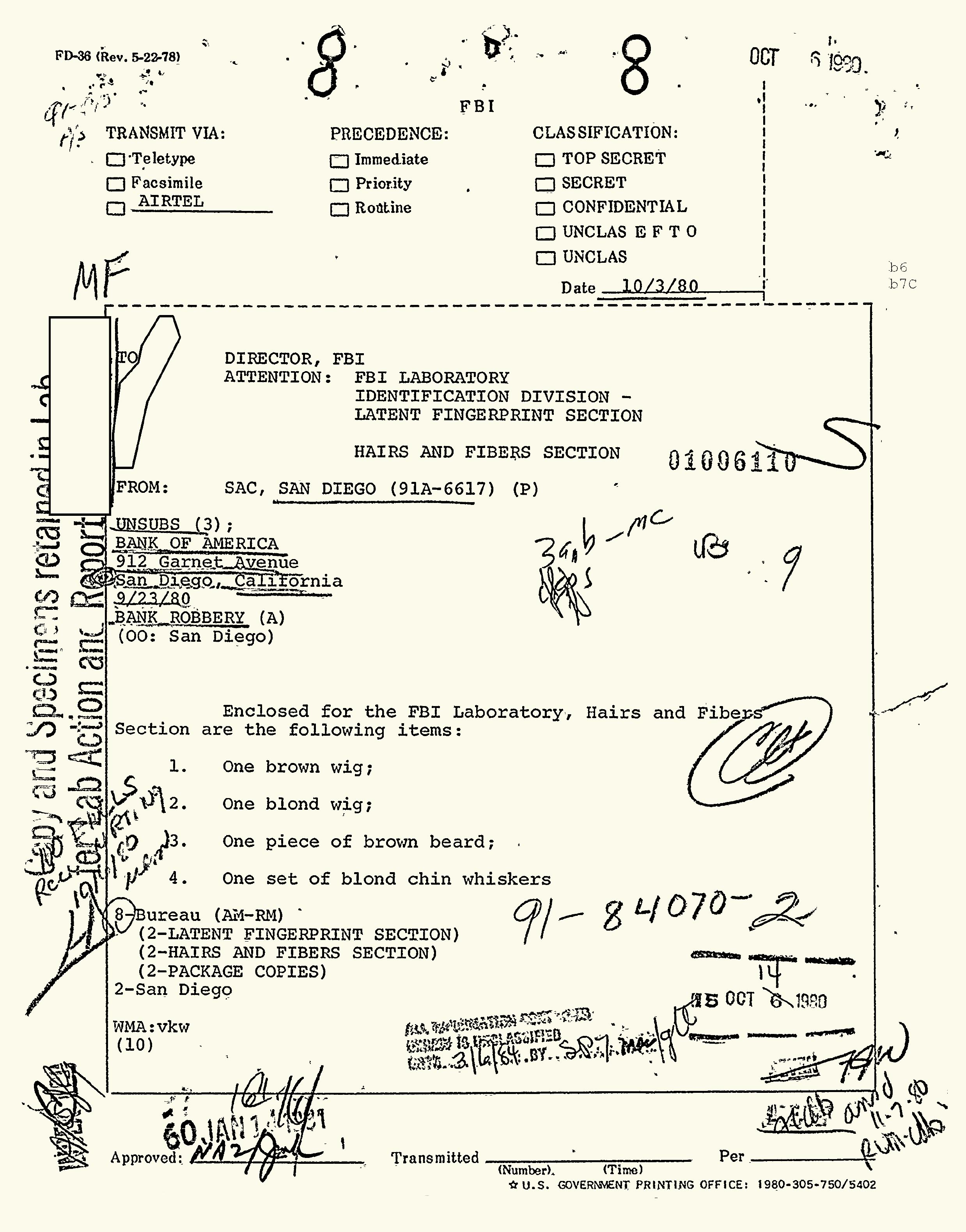 An FBI evidence report of the Bank of America robbery at 912 Garnet Ave. in San Diego. Photo: Courtesy of Kevin Mitchell