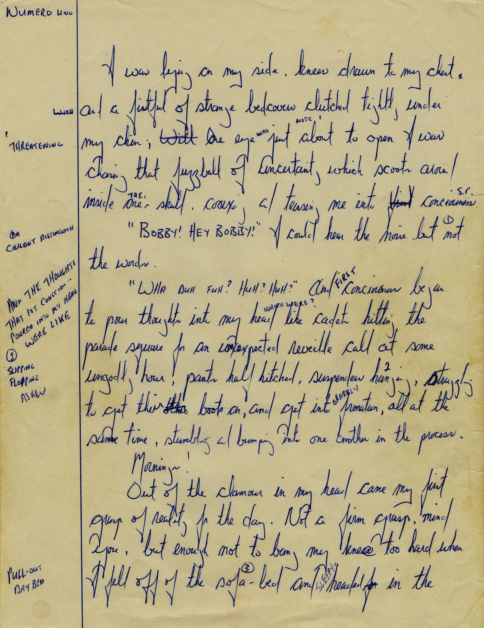 First draft of Jackrabbit Parole, 1984. Photo: Courtesy of McMaster Archives