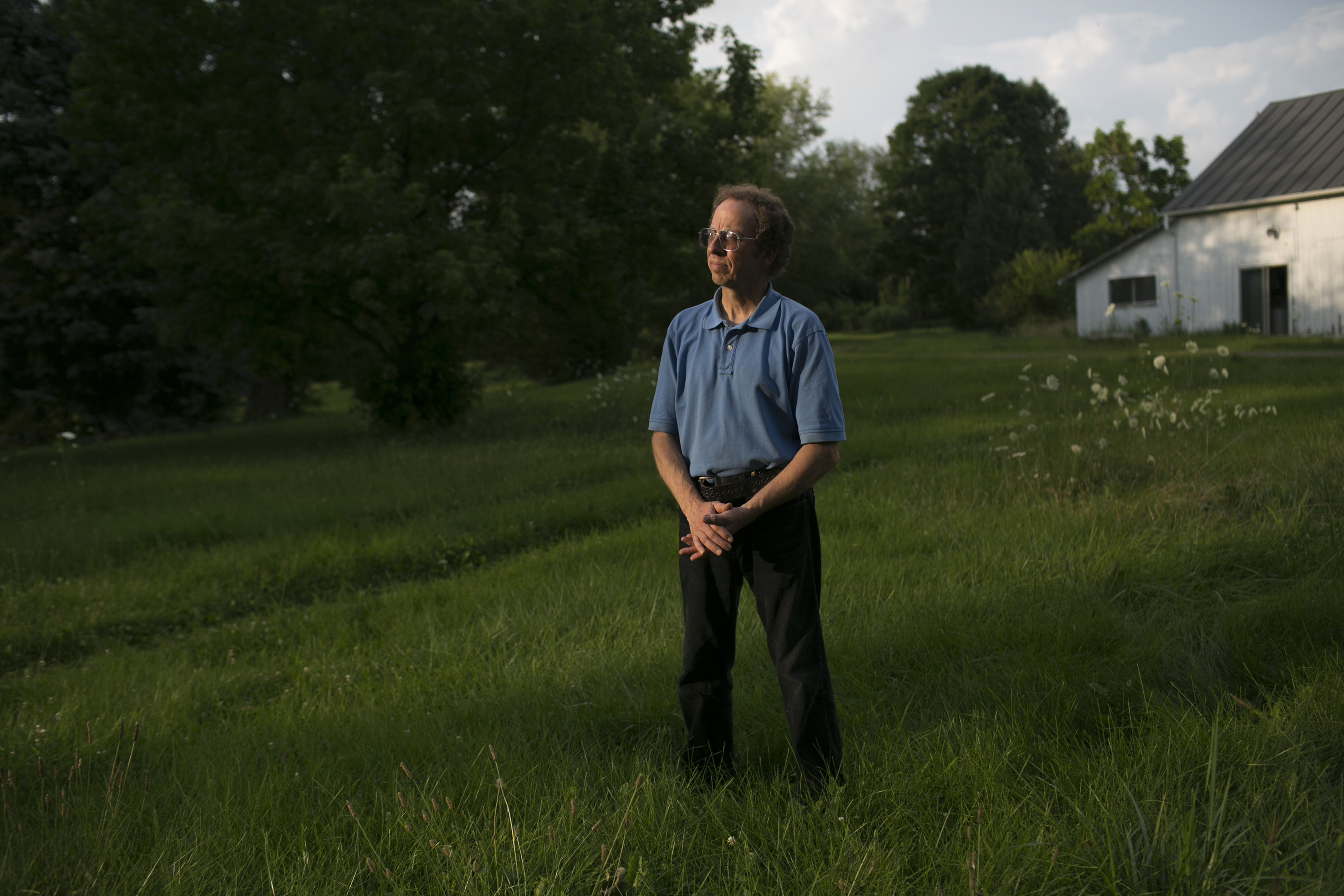 Fowle in the yard of his home in Miamisburg, OH.