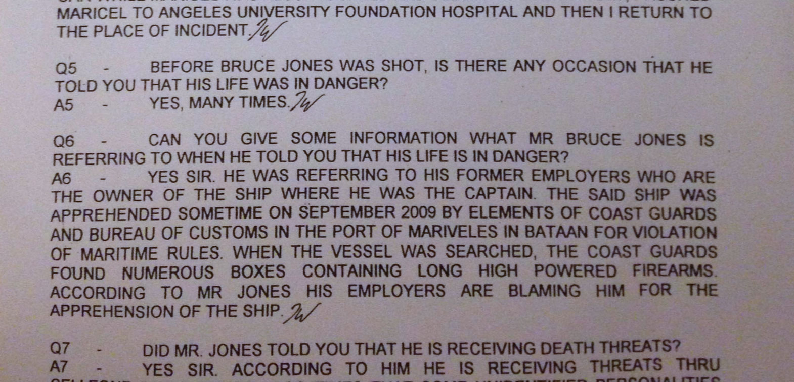 Transcript of John Nash's interview with the police after Bruce Jones's murder.